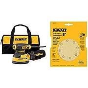 """DEWALT DWE6423K Variable Speed Random Orbit Sander, 5"""" with DEWALT DW4303 5-Inch 8-Hole 120-Grit Hook-and-Loop Random Orbit Sandpaper (5-Pack)"""
