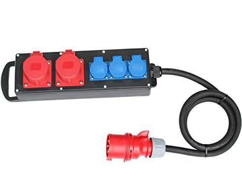 CEE Stromverteiler 16A / 400V zu 2x16A 3x230V Vollgummi Verteiler Baustromverteiler
