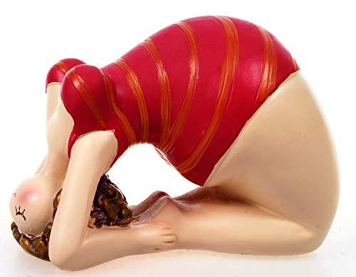 Schick-Design Yoga Dame im roten Badeanzug 11 cm Figur Brücke Set Bandhasana Mädchen Rubensfrau mollige Dame Badenixe Dicke Frau Badezimmer Pilates Joga
