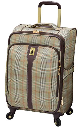 LONDON FOG Knightsbridge Hyperlights Softside Expandable Spinner Luggage, Grey/Navy Plaid, Carry-On 21-Inch
