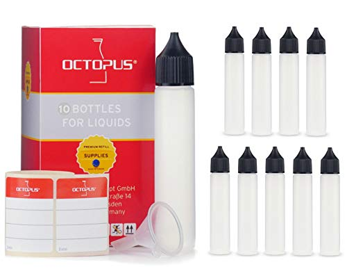 Flaconi per liquidi per sigarette elettroniche da 10 x 30 ml, morbidi flaconi dosatori di LDPE flaconi dosatori per sigarette elettroniche, flaconi di plastica con coperchio