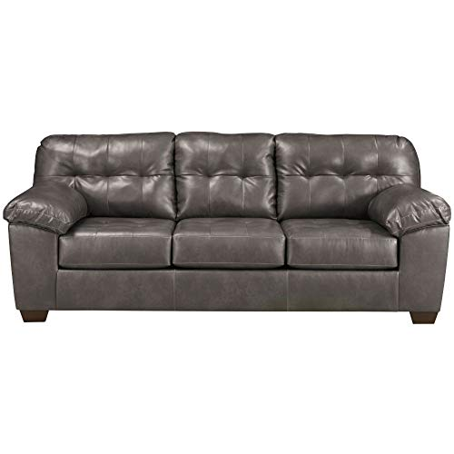 Signature Design by Ashley - Alliston Contemporary Faux Leather Sofa, Gray