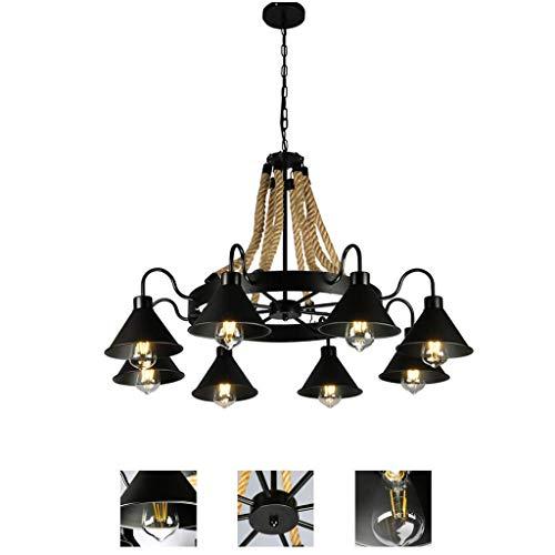 Candelabro industrial de cuerda de cáñamo, lámpara de techo antigua, lámpara colgante de altura ajustable para sala, comedor, dormitorio, lámpara de bar, tienda de ropa de hotel, cafetería, sala de