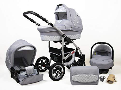 Kinderwagen 3in1 2in1 Set Isofix Buggy Babywanne Autositz New L-Go by SaintBaby Silver Wave 3in1 mit Babyschale