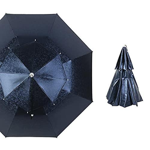Sombrero de Paraguas de Pesca, Sombrero de Paraguas con Varillas de Aleación de Aluminio, con Anillo de Cabeza Ajustable de PVC, Gorra Plegable Para Exteriores Protección UV, 3 Colores Disponibles