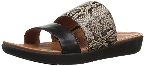 FitFlop Women's Delta Slide Sandals Flat, taupe snake/black, 5 M US