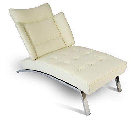 NEUERRAUM Bauhaus Daybed Chaiselongue Lounge-Sessel Relax Liege Couch Sofa Echtleder, Fuß Edelstahl poliert. Abbildung in Leder Creme.
