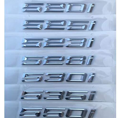 ZHANGY Emblemi dell'emblema del Distintivo del Bagagliaio delle Lettere del Numero di Argento Cromato per BMW Serie 5 520i 523i 525i 528i 530i 535i 540i 550i 545i, 520i
