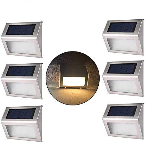 Solar-Stufenleuchten mit größerer Batteriekapazität CUHSPOL 6er-Pack Edelstahl Helle LED-Solarleuchten Wetterfeste Außenbeleuchtung für Treppenstufen Terrassen Zäune Wege Terrassenweg (Warmes Licht)