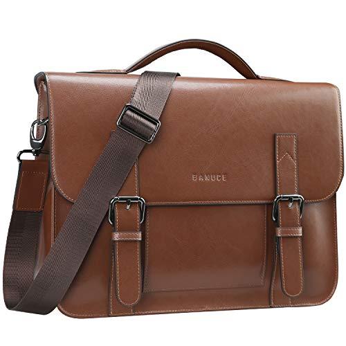 Banuce Vintage Leather Messenger Bag for Men Crossbody Brown Laptop Briefcase Satchel Shoulder Bags