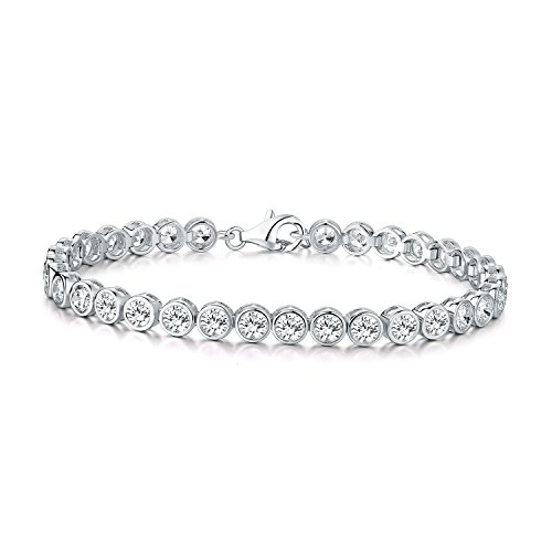 Diamond Treats Tennis Bracelet for Women, Bezel Set 925 STERLING SILVER bracelet with 4mm Flawless White Cubic Zirconia. This 6.5-7 inch Ladies Eternity Bracelet is a Perfect Jewellery Gift for Women