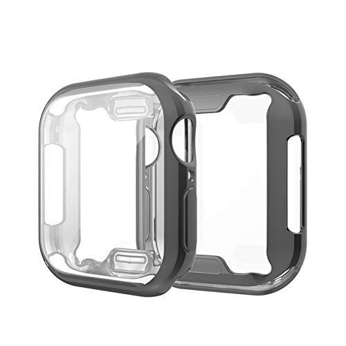 ZAALFC Para Apple Watch TPU All-Around Ultra Thin HD Clear Cover 38mm 40mm 42mm 44mm TPU Case Series 7/SE/6/5/4/3/2/1 Case (Color: Negro, Tamaño: 38mm)