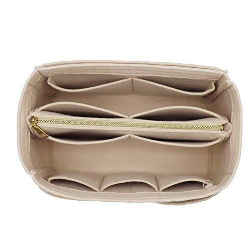 Felt Purse Bag Organizer Insert with zipper Bag Tote Shaper Fit Speedy 40 Neverfull GM 8021 Beige XL