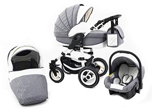 Tabbi ECO LN | 3 in 1 Kombi Kinderwagen | Hartgummireifen | Farbe: Grey