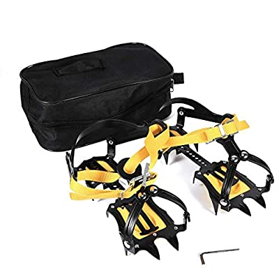 Dilwe Crampons Ice Cleats Traction Snow Grips, Strong Steel Traction Cleats with 10 Teeth for Walk on Ice Snow and Freezing Mud Ground Outdoor Sports Activity Accessory