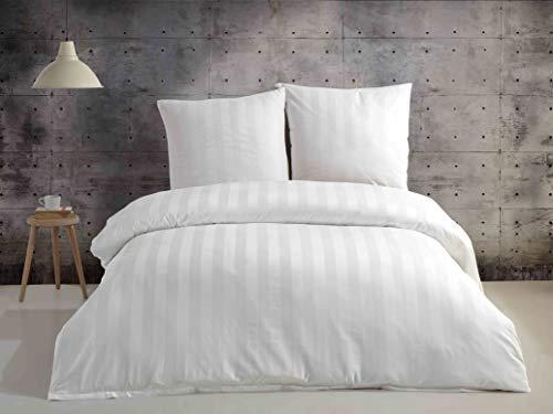 SALE AND MORE Damast Mako Satin Bettwäsche Set | Bettdeckenbezug mit Kopfkissenbezüge | 4,5 cm Damast Streifen I Bettgarnitur | Baumwolle Bettbezug (Weiß, 200 cm x 220 cm)