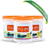 Tulips Cotton Ear Buds/Swabs (Pack of 3) 100% Pure & Soft Cotton, 100