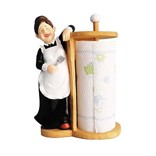 Soporte Para Toallas De Papel Para Cocina, Bonito Dispensador De Toallas De Papel Para Encimera, Soporte Para Papel Higiénico (Color : Female chef)