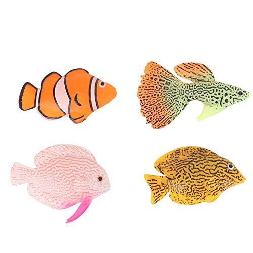 Pssopp 4 Stücke Aquarium Künstliche Fische Leuchtende Silikon Gefälschte Fische Bewegliche Fische Aquarium Landschaft Dekorationen Schwimm Ornament mit Saugnapf