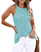 CANIKAT Women's Juniors Cute Halter Neck Strappy Shirts Sleeveless Knit Tops Solid Basic Fashion Cami Tank Tops Blouses Sky Blue XL