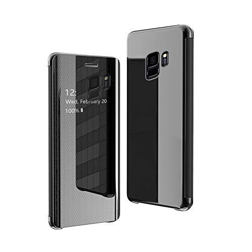 CrazyLemon Hülle für Samsung Galaxy S9 Plus, Dünn Leicht Sichtbar Spiegel Schutzhülle PU Leder + Mikrofaser PC Hybrid Stoßfest Handyhülle - Schwarz