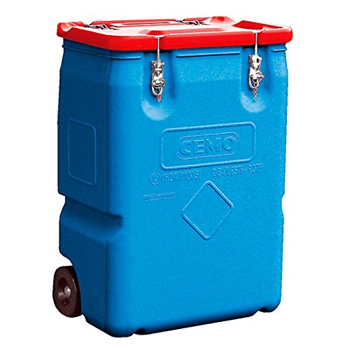 CEMO Gefahrstoff-Sammelbehälter mit 2 Rädern - Inhalt 250 l, Deckel rot - Gefahrstofflagerungen Gefahrstofflagerungen Kunststoff-Behälter Gefahrstoffbehälter Sammelbehälter Kunststoff-Behälter