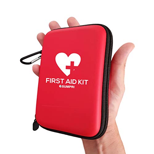 SUMPRI Mini First Aid Kit (100 Pieces) - Water-Resistant Hard Shell Case Camping First Aid Kit -Compact & Lightweight Emergency Medical Supply -Thermal Blanket for Backpacking, Hiking, Home Or Car