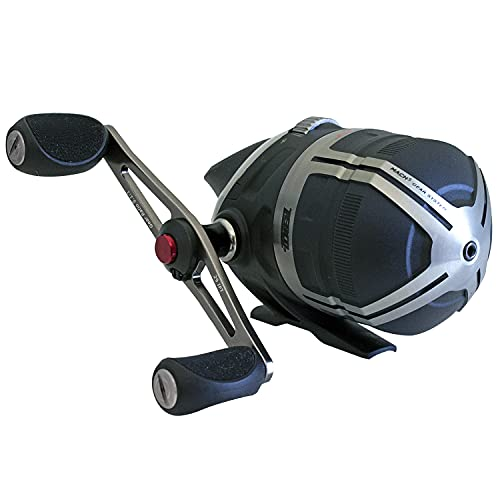 Zebco Bullet Spincast Fishing Reel, Size 30 Reel, Fast 29.6 Inches Per Turn, GripEm All-Weather Handle Knobs, Pre-Spooled with 10-Pound Zebco Fishing Line, Black (2017)