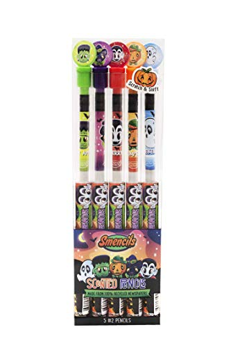 Halloween Smencils - HB #2 Scented Smelly Fun Cool Novelty Pencils, 5 Count, Gifts for Kids, School Supplies Classroom Rewards by Scentco
