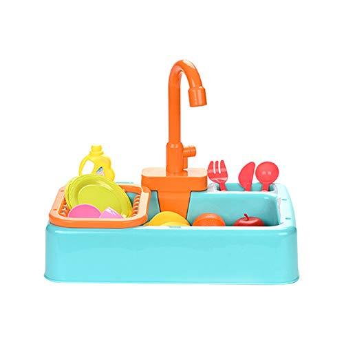 Muskmelon Fregadero con accesorios Juguete Cocinitas de Niños Juguetes Lavavajillas con Circuito de Agua Lavavajillas Fregadero con Grifo Simulado Lavabo