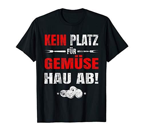 Herren Grillen Grillmeister Grillgeschenk Kein Platz Für Gemüse BBQ T-Shirt