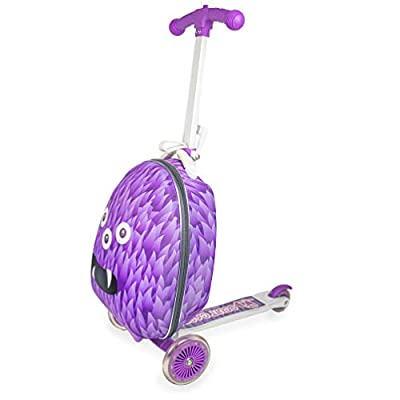 Gone Travelling Monster Scuit Case - Scooting Case for Kids Holiday Luggage - Travel Scooter Multi Suitcase - Carry On Cabin Bag Pull Along Wheeled Holdall Trolley - Purple