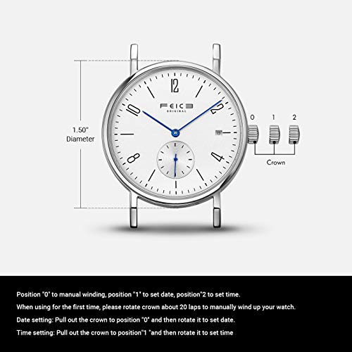 FEICE Men's Mechanical Watch Automatic Watch Analog Wrist Watches Stainless Steel Leather Band Watches Casual Business Watch for Men Best Gift #FM201 (Date)