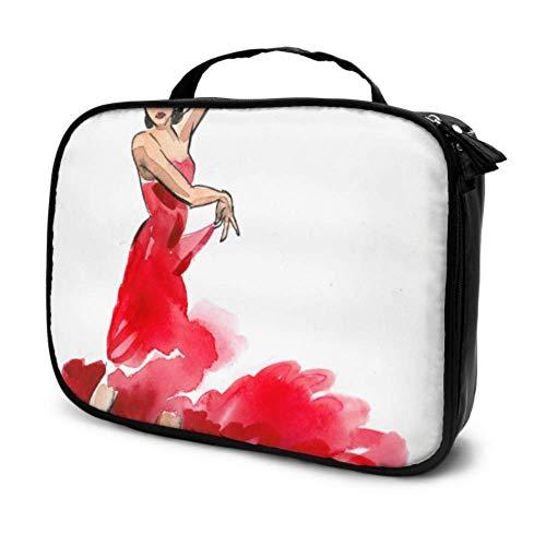 Una Bailarina de Flamenco Estuche de Maquillaje para niñas de Viaje Bolsa de Aseo para Hombres Bolsa de cosméticos pequeña Hombres Bolsa Impresa multifunción para Mujeres