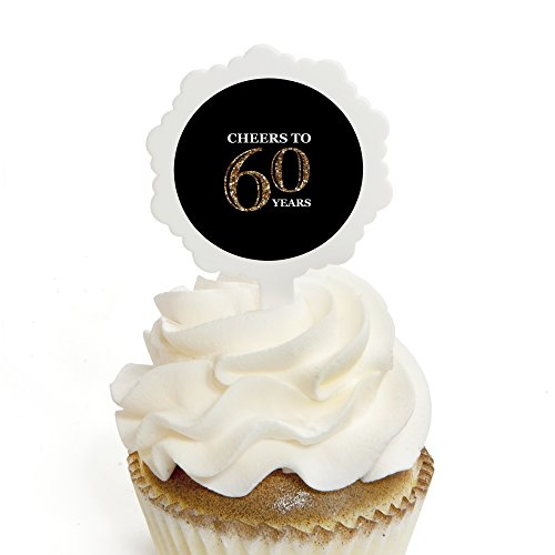 Adult 60th Birthday - Gold - Cupcake Picks with Stickers - Birthday Party Cupcake Toppers - 12 Count