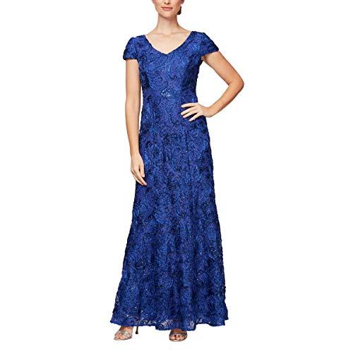 Alex Evenings Women's Long A-Line Rosette Dress, Royal V Neck, 6P (Apparel)