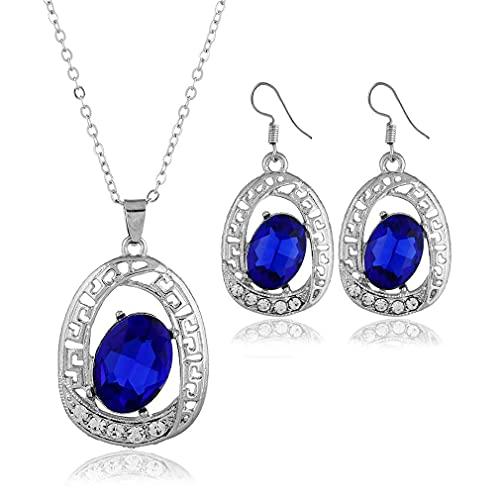 Conjunto de pendientes de gancho y collar con diamantes de imitación para bodas