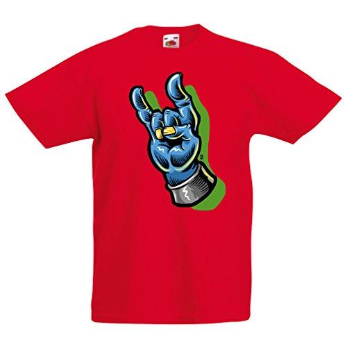 Camisas para nios Zombie Mano A Rock and Roll smbolo, Signo de los Cuernos, Signo de Metal (14-15 Years Rojo Multicolor)