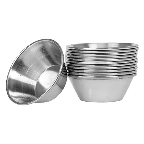 (12 Pack) Small Sauce Cups 1.5 oz, Commercial Grade Stainless Steel Dipping Sauce Cups, Individual Condiment Cups/Portion Cups/Ramekins by Tezzorio