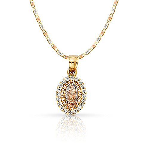 14K Yellow Gold Our Lady of Guadalupe Cubic Zirconia CZ Charm Pendant with 1.5mm Valentino Chain Necklace - 16'