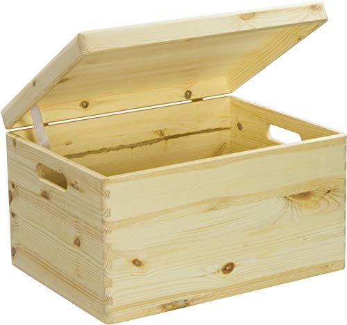 LAUBLUST Große Holzkiste Deckel und Griffe - 40x30x24cm, Natur, FSC® | Allzweck-Kiste aus Holz - Aufbewahrungskiste | Geschenk-Verpackung | Deko-Kasten zum Basteln | Spielzeug-Truhe | Erinnerungsbox