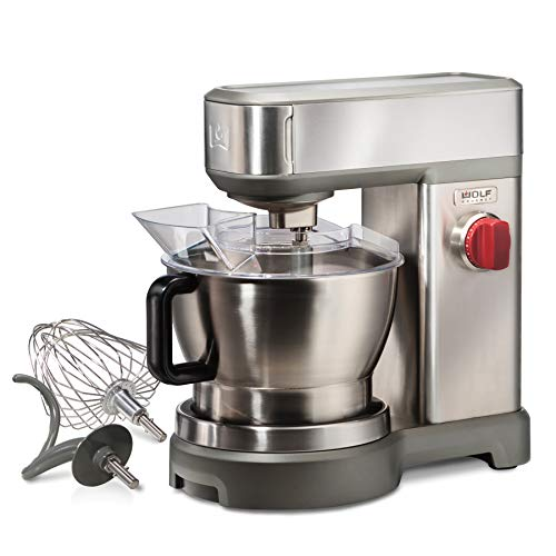 Wolf Gourmet High-Performance Stand Mixer, 7 qrt, with Flat Beater, Dough Hook and Whisk, Brushed...