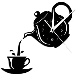 Modern Mute Wall Clock DIY Teapot and Cup Design Acrylic Mirror Modern Wall Clock Tea Kettle Shaped Hanging Clock Watch Kitchen Clock Jug with A Cup