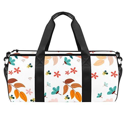 Bolsa de viaje para la playa, grande, para deporte, gimnasio, para pasar la noche, flores y hojas, fondo floral, estampado de follaje, bolsa de hombro con bolsillo seco húmedo