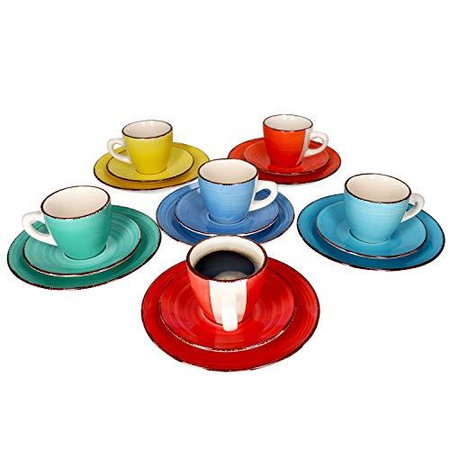 MamboCat 18-teiliges Kaffee-Service Colour Power Capri I buntes Kaffee-Geschirr-Set für 6 Personen I Steingut-Geschirr mit je 6X Tassen - Unterteller - Kuchenteller I Kaffeeservice bunt 18 Teile