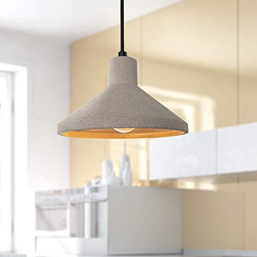 LED Pendelleuchte, E27, Lampe Für Wohnzimmer Esszimmer Küche, Höhenverstellbar, Farbe:Beton-Stein-Grau, Leuchtmittel:ohne Leuchtmittel