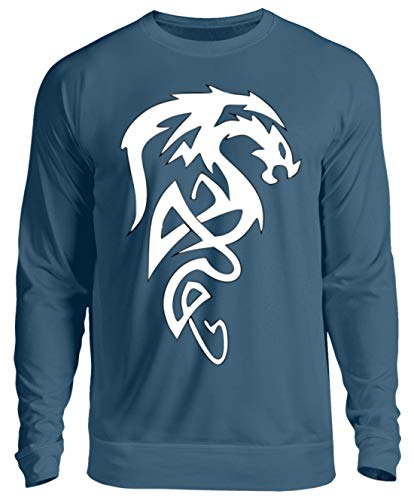 T-Shirt mit Drache, abstrakt - Unisex Pullover -S-Azurblau