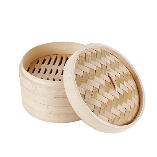 Cozywind 24cm di bambù con Coperchio, 2 Piani Cestello bambù con Coperchio, Cottura a Vapore con Coperchio Cestello per Cottura a Vapore bambù per Riso, Dim Sum, Verdure, Pesce e Carne