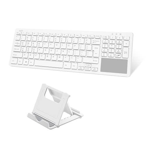 Ewin Bluetooth キーボード ワイヤレス タッチパッド テンキー付き US配列 ワイヤレスキーボード 3台デバイス切り替え Windows Mac Android iOS対応 iPad ノートPC パソコン タブレット スマホ用 スタンド付き ホワイト