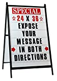 """Sidewalk A Frame Changeable Letters Message Sign with 4-inch Letters Set and 2 Protective Covers Portable Signs for Outside Sidewalk Sign for Business 24""""x 36"""" Sandwich Board Sign with Letters"""